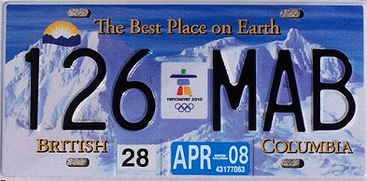 New BC Olympic license plate